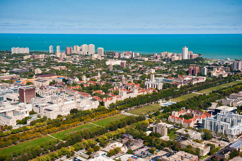 Aerial view of Hyde Park with University of Chicago Campus