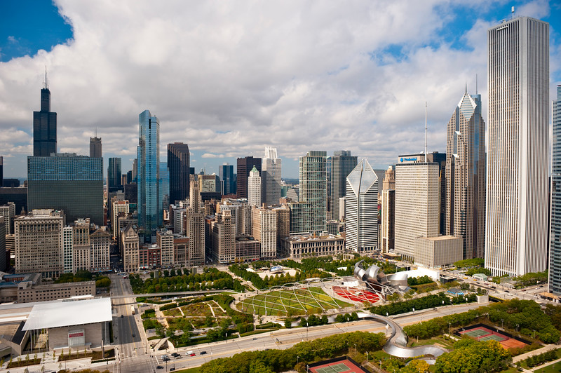 Aerial view of Millennium Park and Art Institute Modern Wing