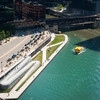Aerial Riverwalk Riverbank with Chicago Water Taxi