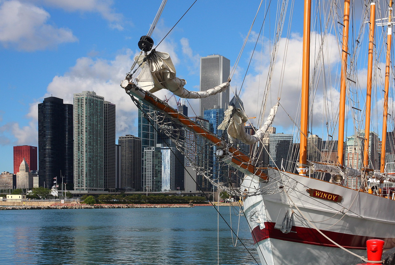 """The tall ship """"Windy"""", shown docked and waiting on Navy Pier's south side."""