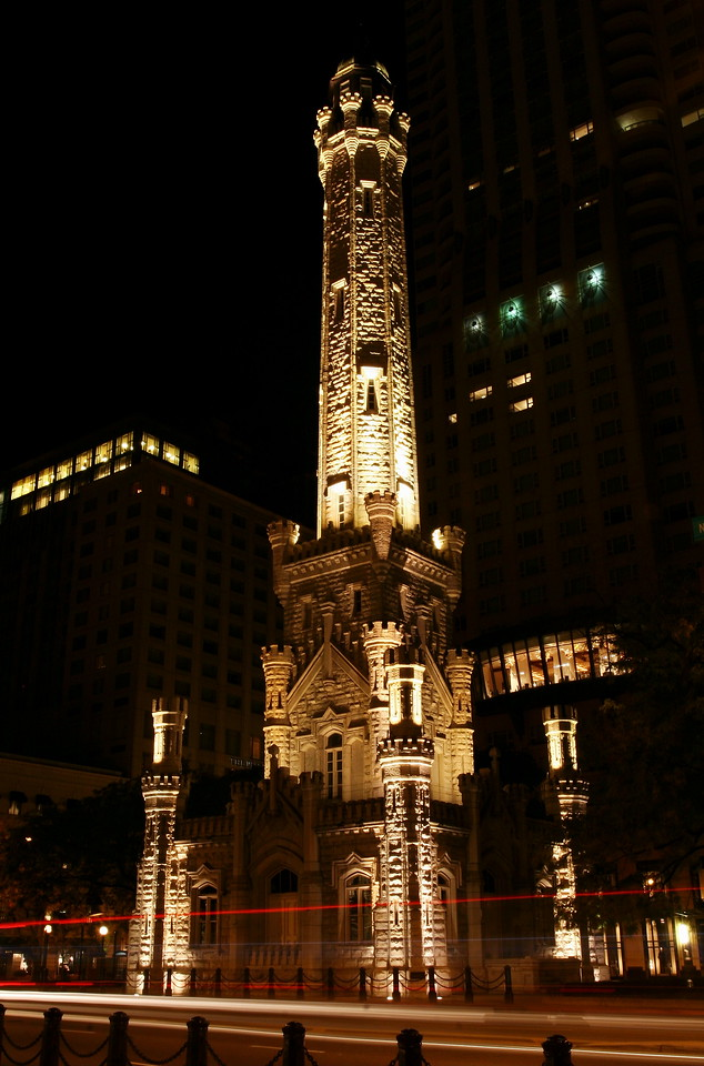 Chicago's Water Tower, viewed through moving traffic on Michigan Ave.