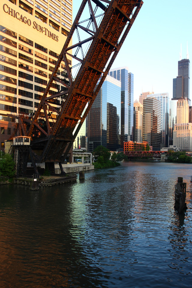 The Chicago Sun Times relocated as their previous property became the Trump Tower.  This is the new location, on the Chicago River's west end.