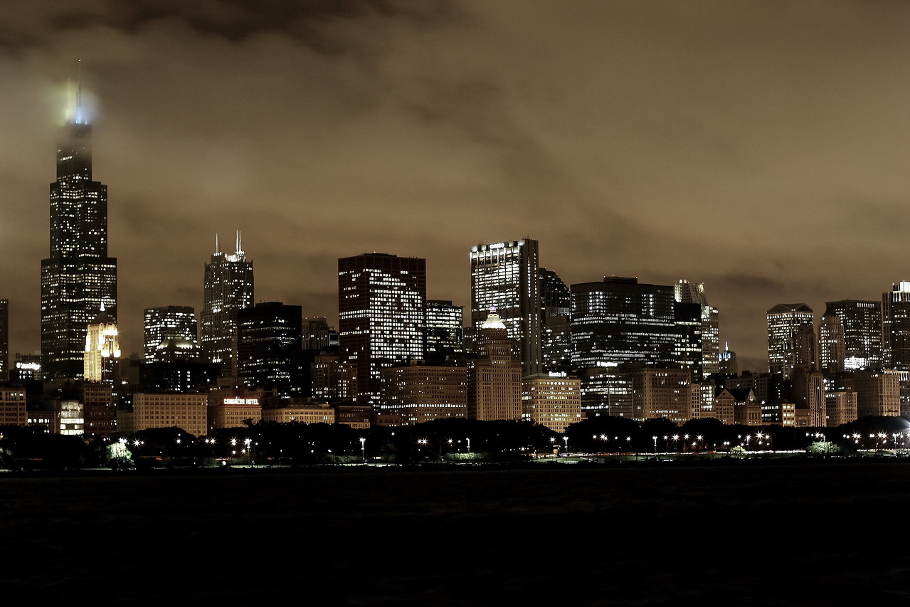 The south end of the Chicago skyline, moments before a storm.