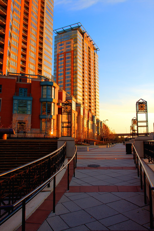 Chicago's riverwalk, accessible from the Streeterville neighborhood area.  This is a HDR image, taken at sunrise.