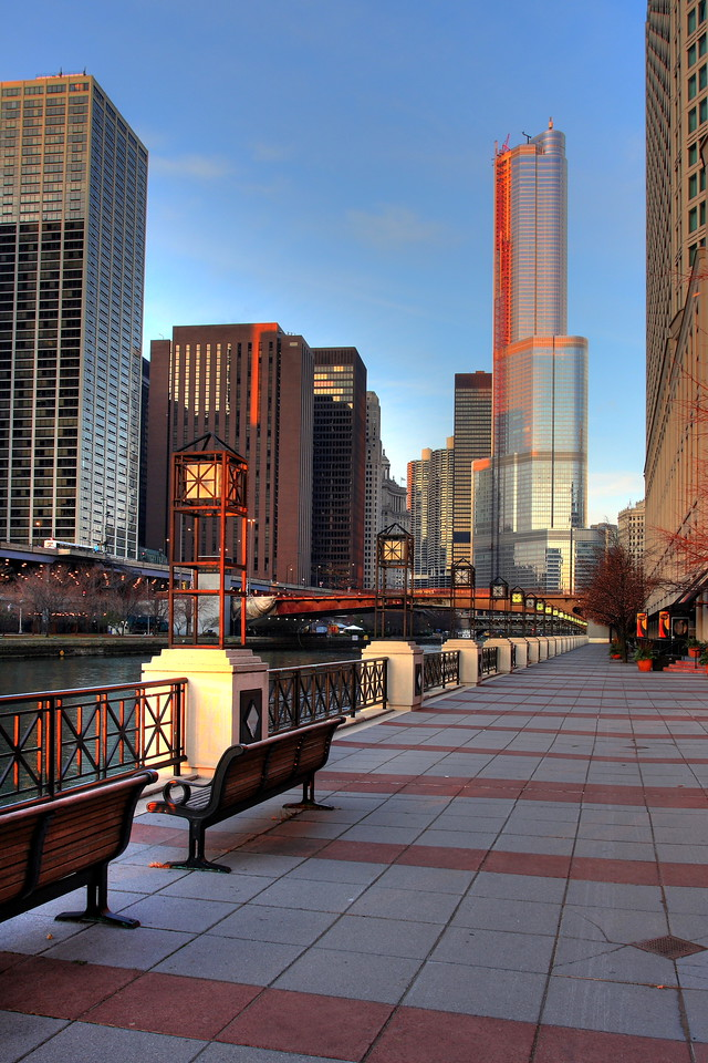 A view of the Chicago riverwalk at sunrise, leading towards the new (almost complete) Trump Tower.  This is intended to be a true-to-life view of this scene, made possible by HDR processing.