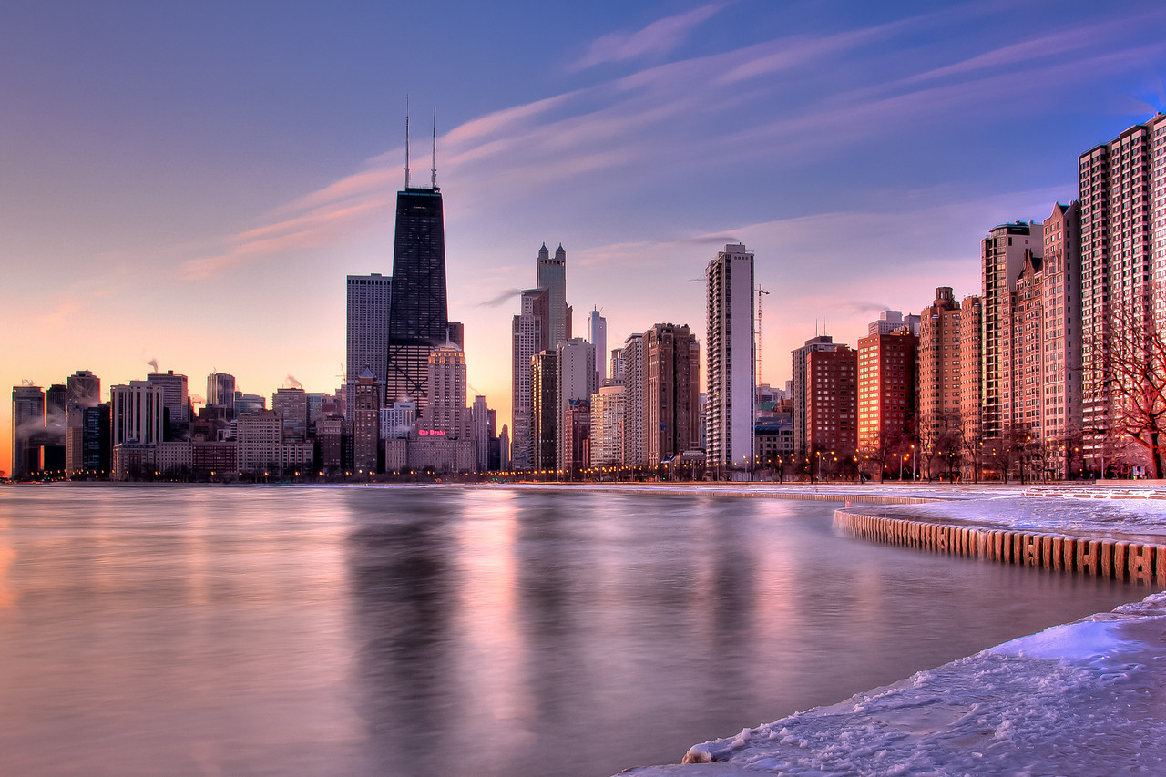 A sunrise view of the north loop area, taken from North Aveue Beach.  This HDR photo was taken on a 7 degree day, and is a 25 second exposure.  Shooting through a 10-stop ND filter, the camera is able to record a smooth lake surface, on a day that otherwise had 3-5' waves!! The water's surface in this photo is not frozen!