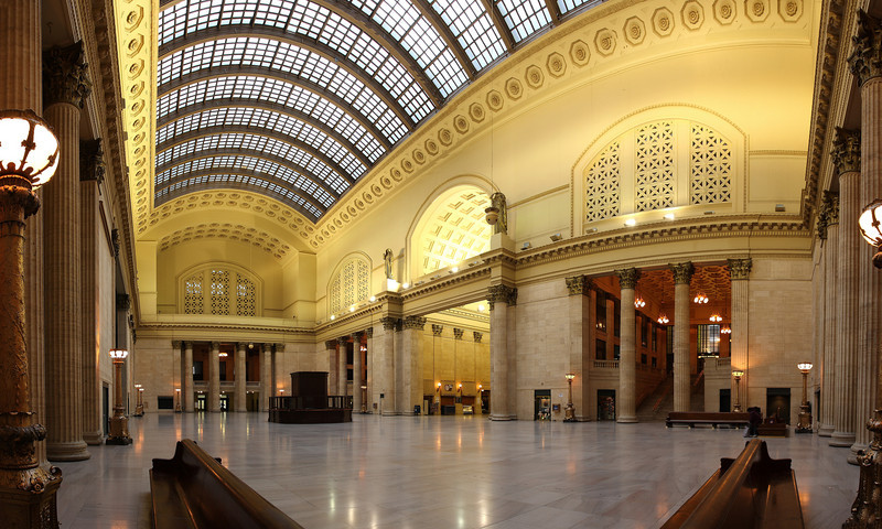 Chicago's Union Station.  This interior view was shot in 6 separate frames, and combined in Photoshop into one image.  This was taken at 6:00 AM on a Sunday to avoid the daily commuters that would normally be rushing through this room!