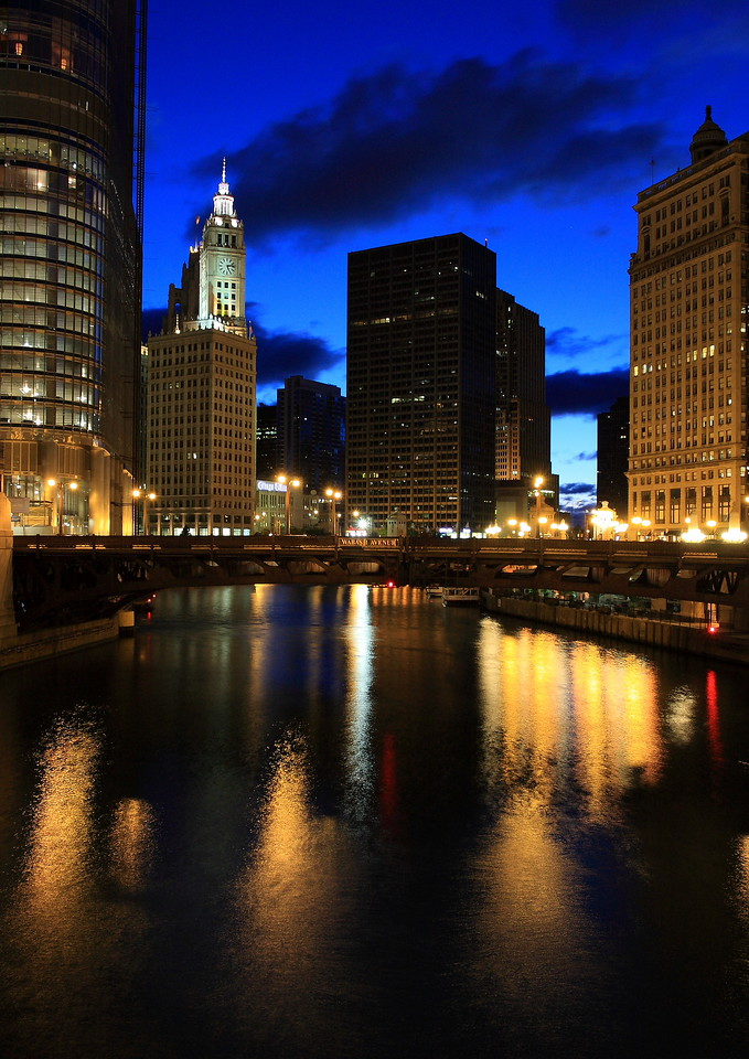 A view of the Chicago river from the State Street bridge. I shot this on a Sunday morning just before sunrise, and was fortunate to get a great sky color in the image.  This photo is basically untouched...this was what I saw.