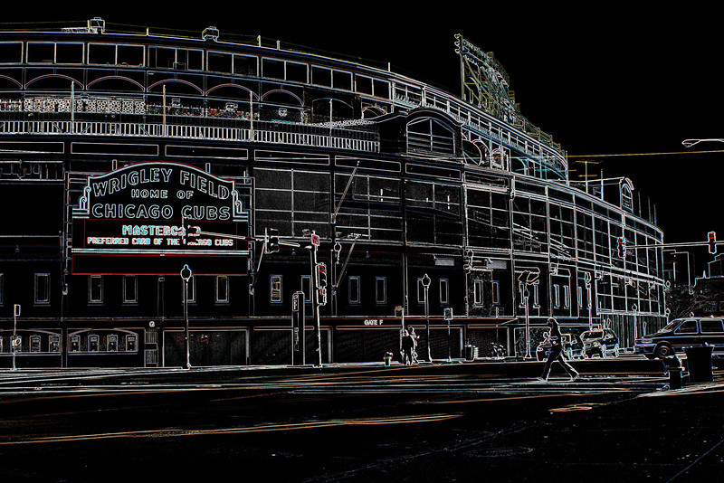 """The Friendly Confines""<br /> A common view of the main entrance, converted in Photoshop into the image here."