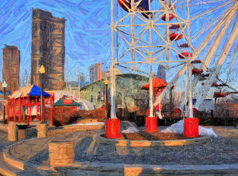 "An artistic rendering of Navy Pier's Ferris wheel, with Lake Point Tower and the Crystal Gardens Center in the background.  This shot was taken at sunrise, and processed with a ""paint stroke"" design in the final edit."