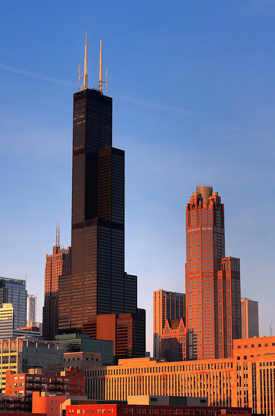The Sears Tower and neighboring buildings, taken from the roof deck of the UIC parking garage at sunset.