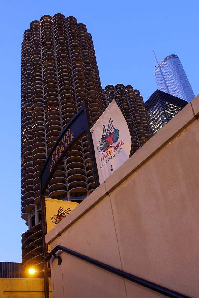 Marina Towers, seen from the Chicago Riverwalk.