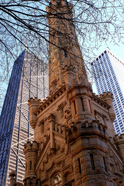 The Water Tower, with the John Hancock and Water Tower Place buildings in the background.