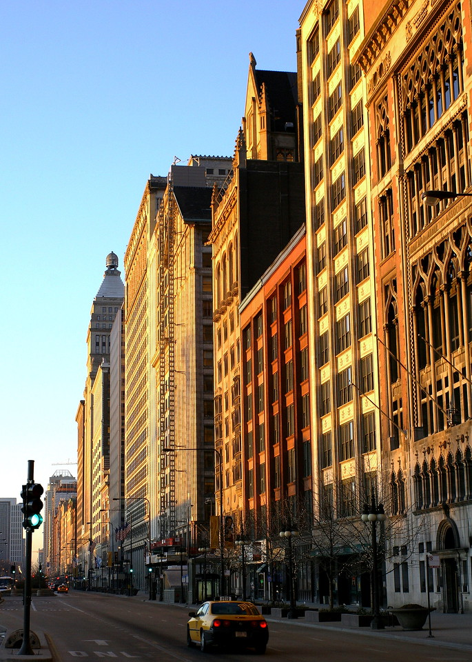 South Michigan Avenue, just after sunrise on a Sunday morning.