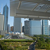 "The ""flying carpet"" of Renzo Piano's Modern Wing of the Art Institute of Chicago cantilevers toward Chicago's Millennium Park with the Lurie Garden and Frank Gehry's Pritzker Pavilion."