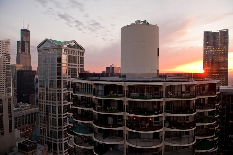 Marina City West tower at sunset