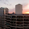 Marina City West tower at sunset