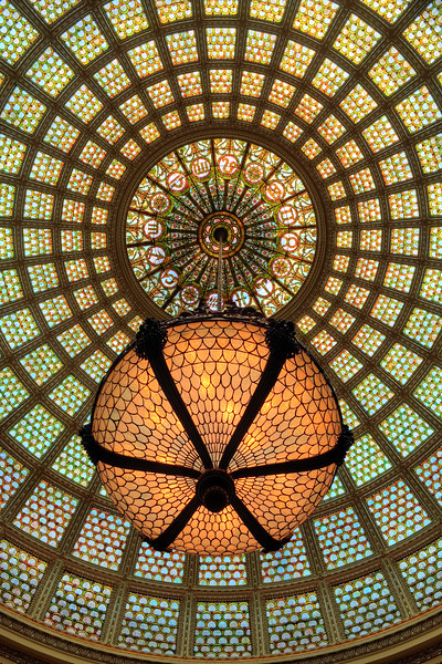 Detail of the world's largest Tiffany art glass dome located in Preston Bradley Hall in the Chicago Cultural Center, 78 E. Washington Street.