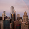 View of Chicago looking east with rainbow