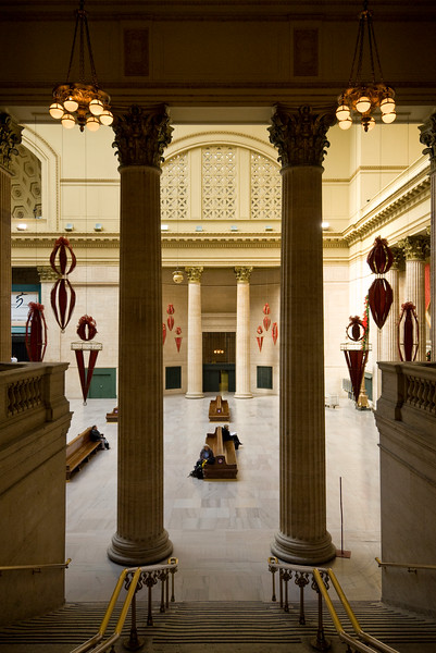 Interior of the Beaux-Arts style Union Station in Chicago.