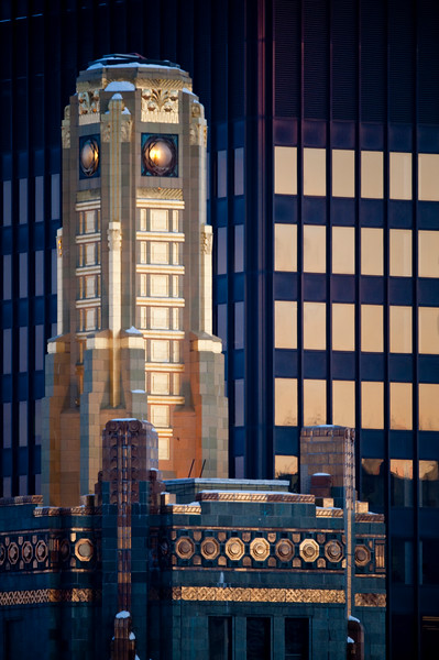 The tower of the landmark Carbide and Carbon Building, located 230 N Michigan was built in 1929