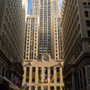 The landmark Chicago Board of Trade building at the foot of LaSalle Street, Chicago's financial district.