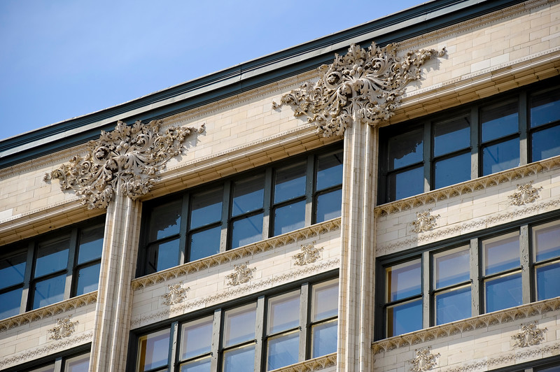 Detail of terra cotta-clad façade of the Carson Pirie Scott historic skyscraper by Adler and Louis Sullivan on State Street.