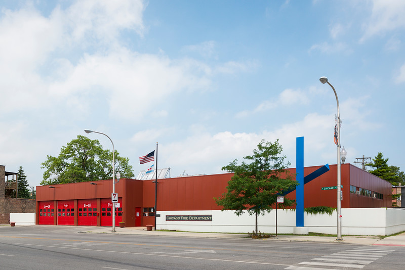 """public art collection """"Pyxis"""" sculpture by Bruce White at Chicago Fire Department 16th District at 4900 W. Chicago Ave. in Austin"""
