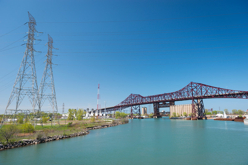 Calumet River from 100th Street bridge Chicago Skyway bridge
