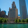 Landmark Jewelers Building at 35 E. Wacker Dr.seen from the Chicago River with the Vietnam Veterans Memorial Plaza