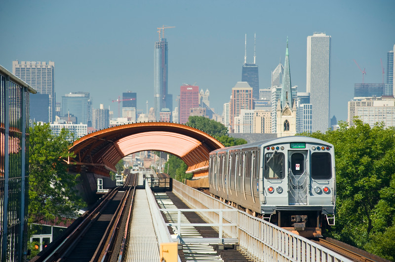View of downtown Chicago from the 35th Street IIT Train Station