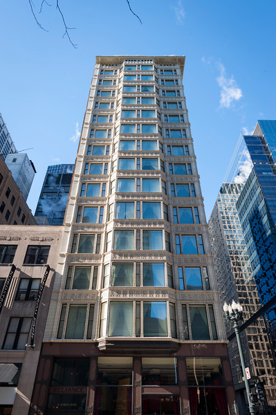 The Reliance Building was completed in 1895. As the first skyscraper to have large plate glass windows make up the majority of its surface area, it obtained National Historic Landmark status in 1976.
