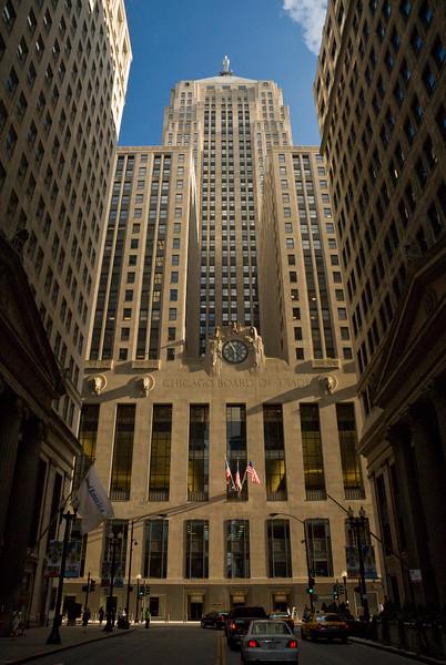 Chicago Board of Trade landmark building at foot of LaSalle Street