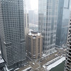 Aerial cold weather frozen Chicago River ice riverwalk snow