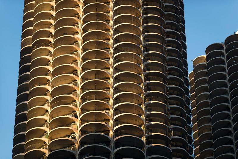 Marina City marina towers condominum concrete skyscraper balcony balconies housing landmark architecture