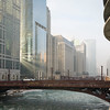 Fog in morning cold weather sunrise Chicago River Dearborn bridge