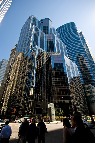 Modern skyscrapers on Wacker Drive, home of world business global offices.