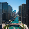 Aerial of Chicago River from the London House Hotel architecture skyline summer bridges