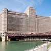 Merchandise Mart building and Chicago River Riverwalk Riverbank architecture art deco landmark