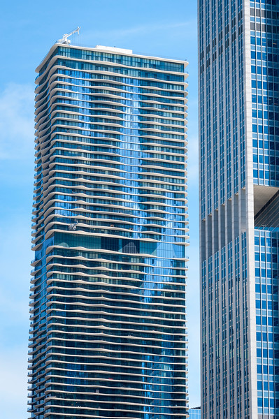 Detail Aqua Tower architecture skyscraper balconies summer 2016