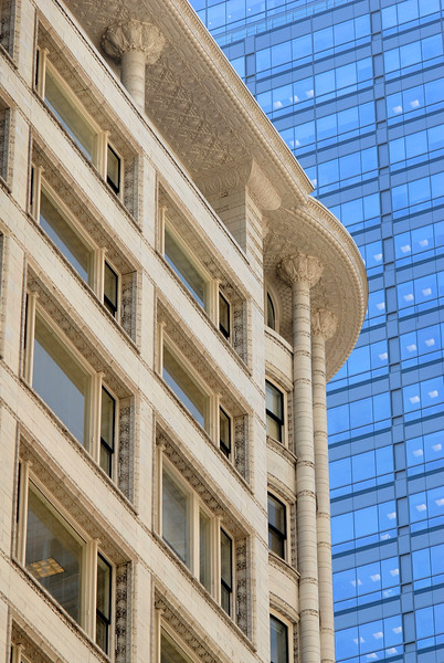 Architectural details of terra cotta clad facade of Carson Pirie Scott's historic skyscraper by Adler and Louis Sullivan on State Street St.