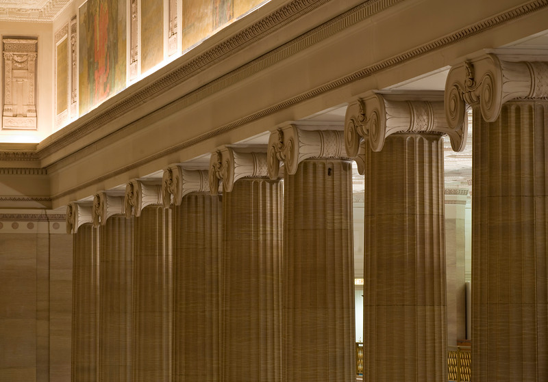 Interior of Bank of America, classical traditional Greek Beaux Arts style, architectual details