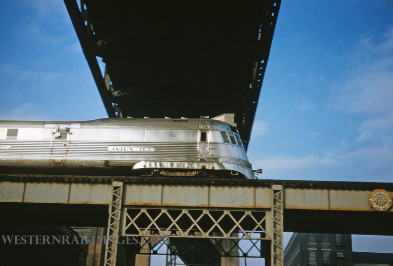 CB&Q 78 - Jan 30 1958 - Loco 9901 on Mark Twain Zephyr train 43 on riverfront at St Louis MO  by Jim Ozment