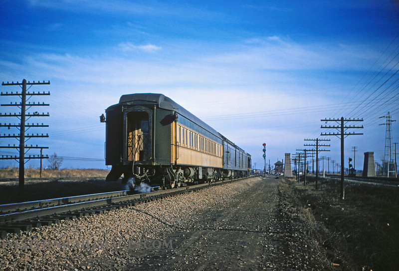CB&Q 25 - Jan 3 1956 - C&NW Pullman Car Huron on Train 47 northbound @ Mitchell ILL - by Jim Ozment