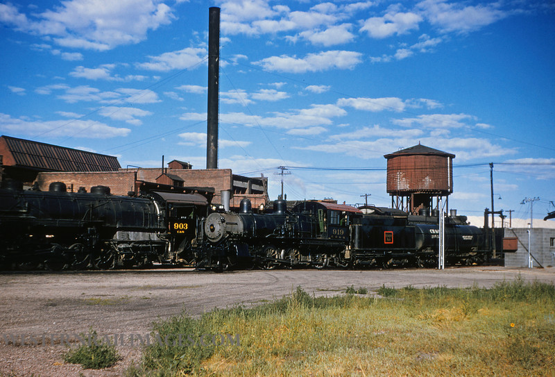 CB&Q 48 - July 21 1956 - locos 919 & 903 C&S @ Cheyenne WY - by Jim Ozment