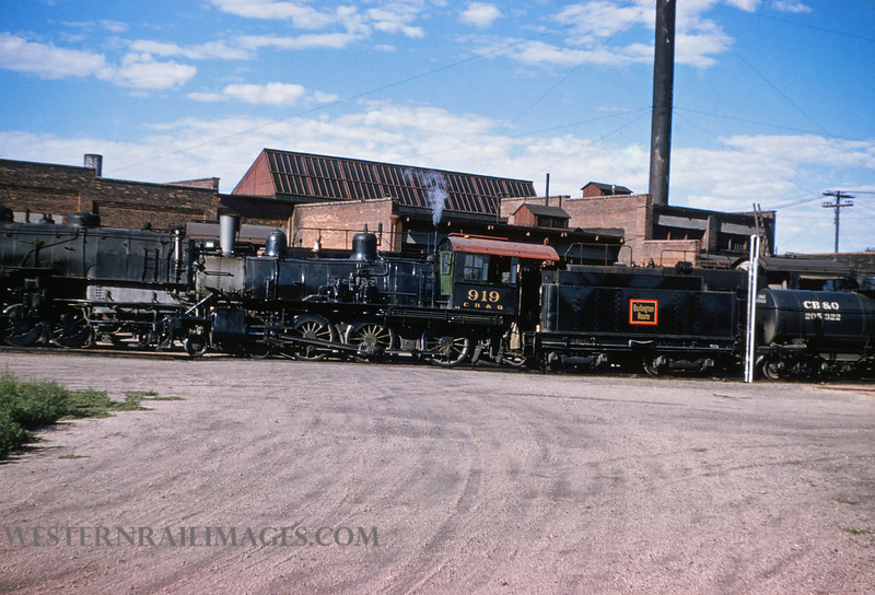 CB&Q 47 - July 21 1956 - Loco 919 4-6-0 @ Cheyenne WY by Jim Ozment