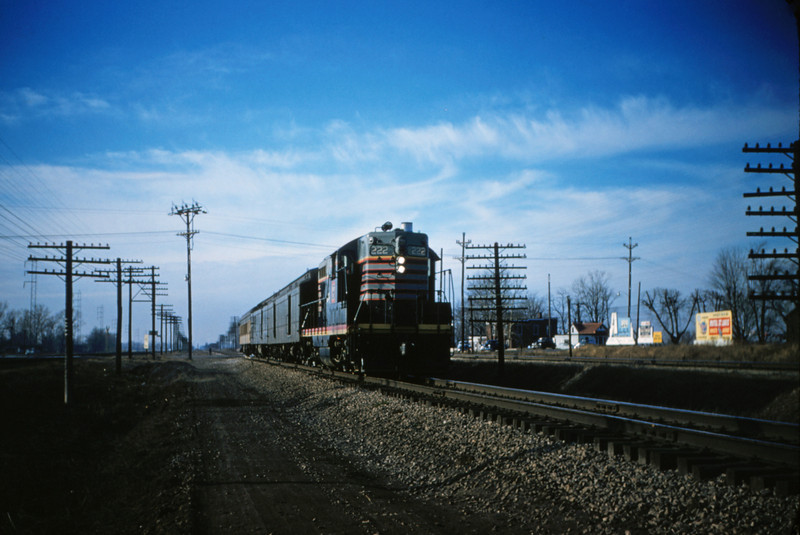 CB&Q 24 - Jan 3 1956 - No 47 with GP-7 No 222 northbound at Mitchell ILL