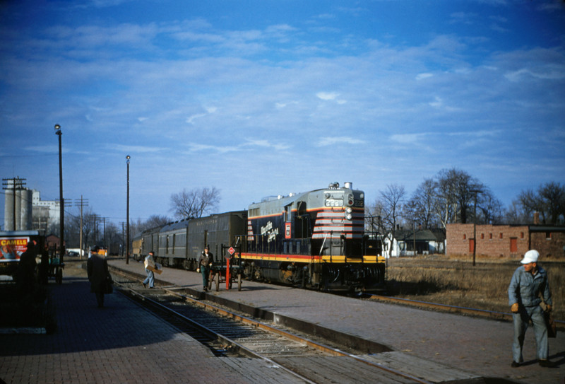 CB&Q 10 - Dec 29 1955 - GP No 222 on train no 48 @ Beardstown ILL