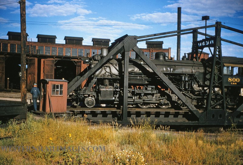 CB&Q 41 - July 21 1956 - C&S loco 800 on turntable @ Cheyenne WYO - by Jim Ozment