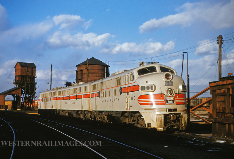 CB&Q 3 - MAr 6 1955 - Loco 160 EMD freight unit at roundhouse in E St Louis ILL - by Jim Ozment